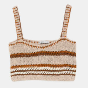 [Zara] Knit Tan Orange Strappy Crop Top - M